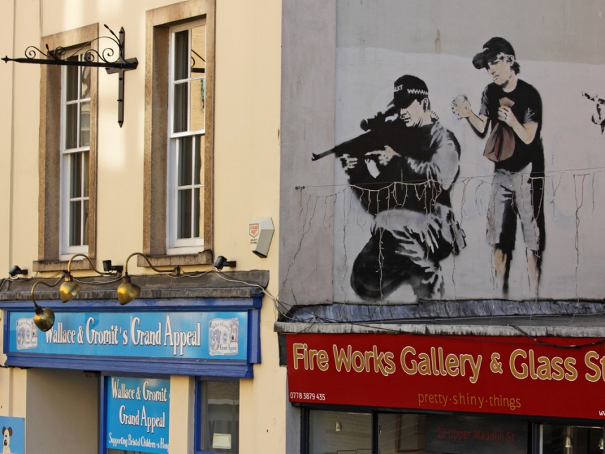 "Police sniper by Banksy in Upper Maudlin Street in Bristol. Image Credit: <a href=""http://www.shutterstock.com/gallery-376252p1.html?pl=edit-00&cr=00"">pjhpix</a> / <a href=""http://www.shutterstock.com/?pl=edit-00&cr=00"">Shutterstock.com</a>"