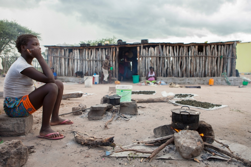 """""""Casa de espera"""" in the village of Chiulo, where pregnant women must walk many miles to have their babies delivered, with help from the Italian NGOs Doctors for Africa CUAMM"""
