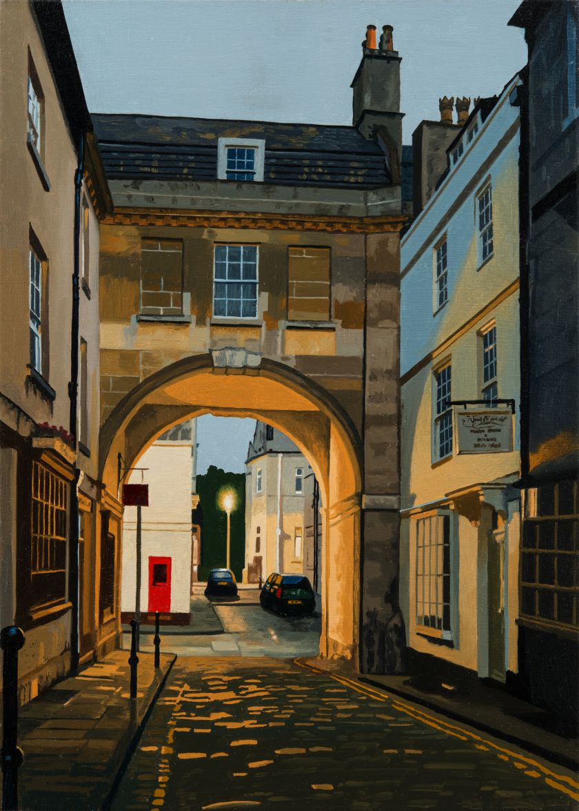 Artist Nick Cudworth's atmospheric paintings of Bath at night on stretched canvas
