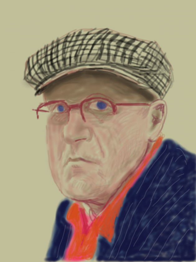 "David Hockney Self Portrait, March 14 2012, iPad drawing printed on paper Exhibition Proof 37 x 28"" © David Hockney"