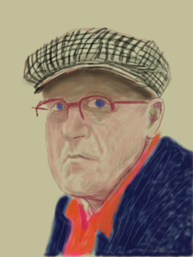 "David Hockney Self Portrait, March 14 2012, iPad drawing printed on paper Exhibition Proof 37 x 28"" © David Hockney"