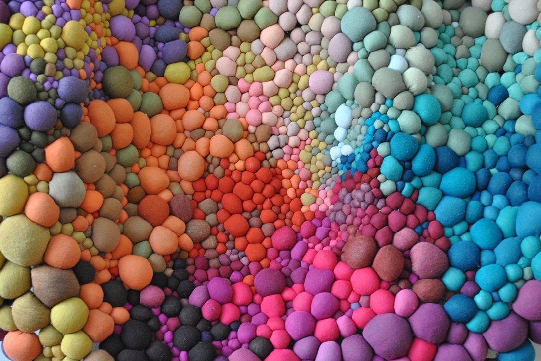 4a5daf28b9b The Chilean textile artist crafts handmade fabric balls in a rainbow of different  colours and textures ...