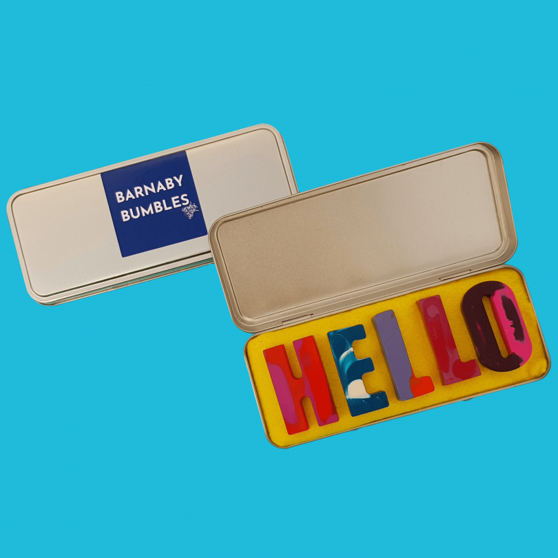 Hello, handmade letter crayons by Barnaby Bumbles. Image courtesy of Barnaby Bumbles.