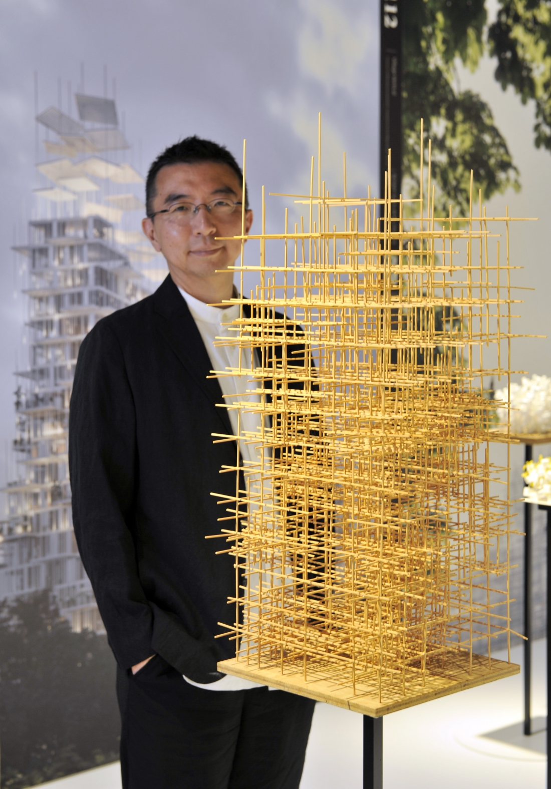Sou Fujimoto, acclaimed Japanese architect, inspects Mist Tower, one of 100 exhibits on display in his exhibition Futures of the Future at Japan House London