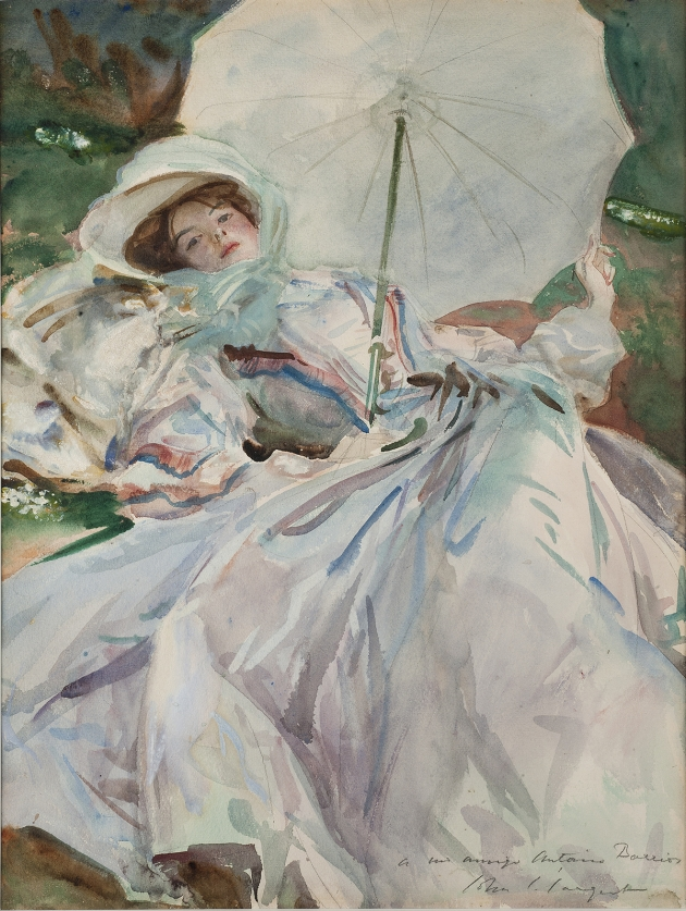 John Singer Sargent, The Lady with the Umbrella, 1911, watercolour on paper, over preliminary pencil, with body colour, 65 x 54 cm, Museu de Montserrat. Donated by J. Sala Ardiz. Image © Dani Rovira