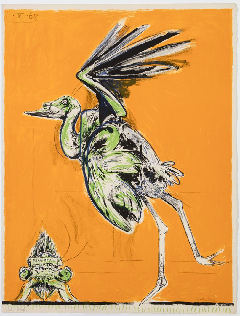 Graham Sutherland Bird (About to take flight), 1968 lithograph From: A Bestiary and Some Correspondences portfolio of twenty six colour lithographs Courtesy Marlborough Fine Art