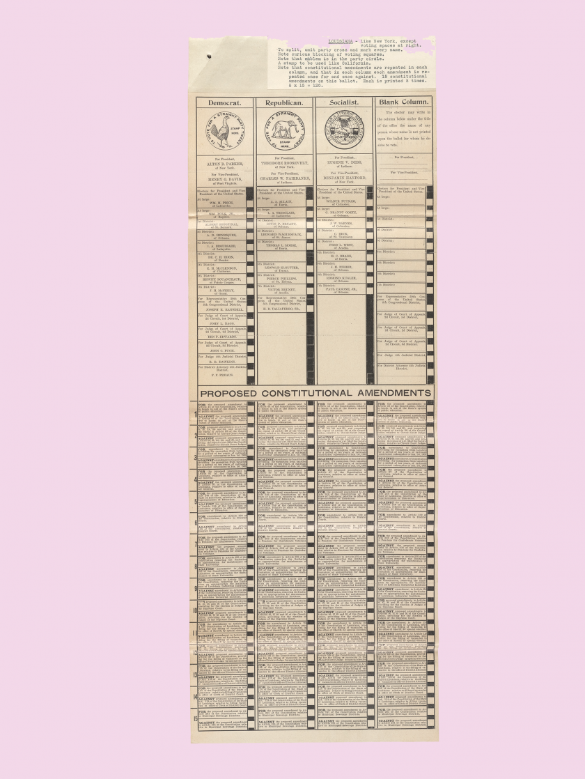 Louisina ballots: Louisiana, 1904, with a densely typeset list of proposed amendments below the candidates' names.