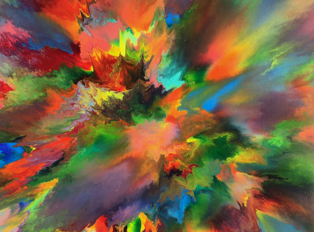 Artist creates bold explosions of colour using thinned oil