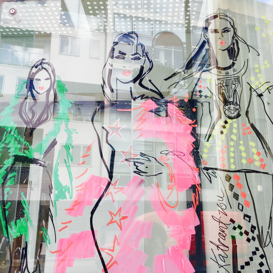 Fashion illustrator transforms southwark window with huge for Retail design agency london