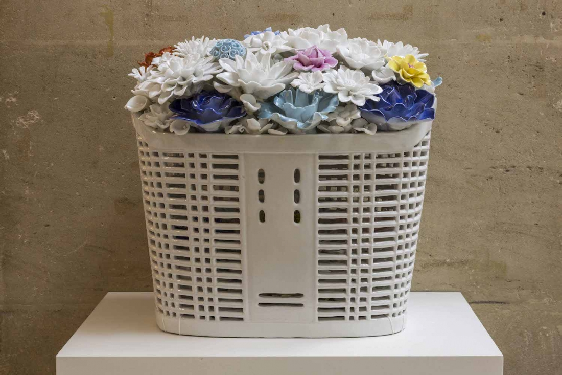 Bicycle Basket with Flowers in Porcelain, 2015, porcelain, 35 x 28 x 33 cm © Studio Ai Weiwei