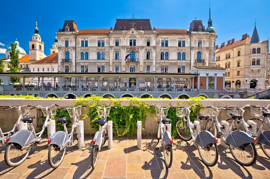 Ljubljana architecture and tourist bikes